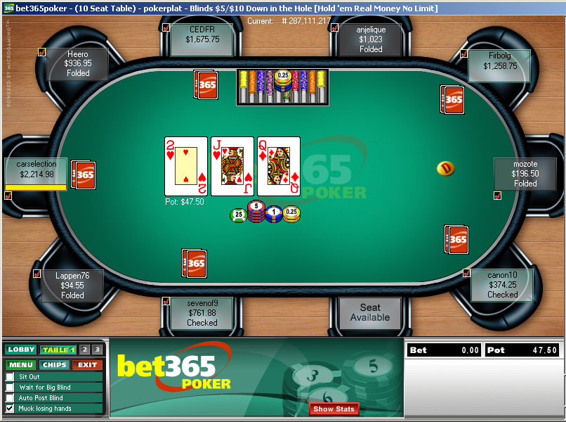 Bet365 online poker meuble plastique roulette